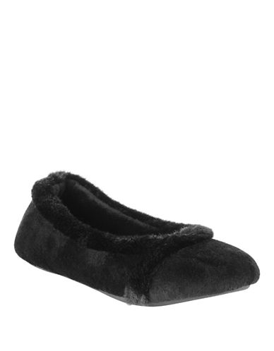 Isotoner Faux Fur-Trimmed Ballet Flats-MULTI-Small