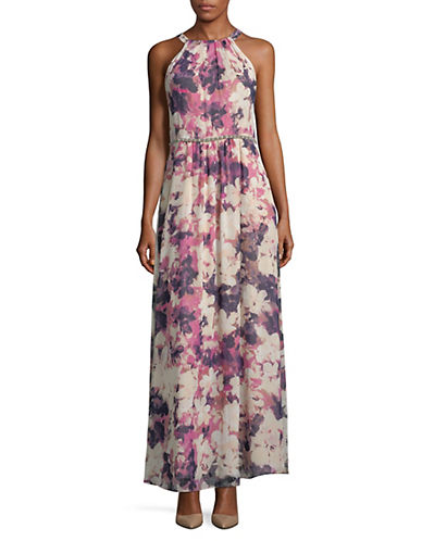 Ignite Evening Floral-Print Sleeveless Gown 89875172