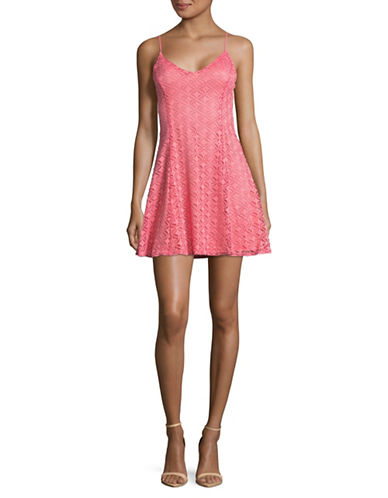 Design Lab Lord & Taylor Lace Cami Fit-and-Flare Dress-RED-Medium