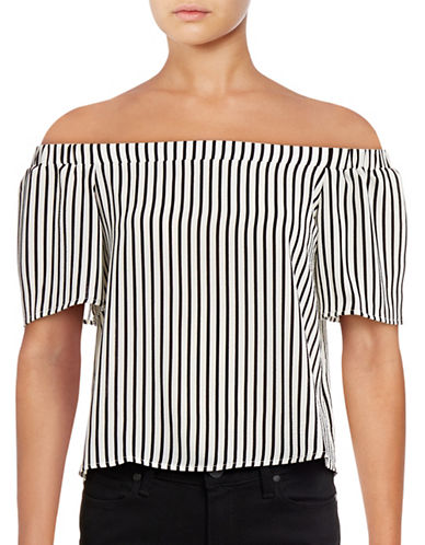 Design Lab Lord & Taylor Striped Off-The-Shoulder Top-BLACK-Small 88901117_BLACK_Small