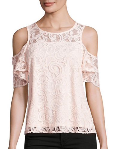 Design Lab Lord & Taylor Lace Cold-Shoulder Top-PINK-Small 88901125_PINK_Small