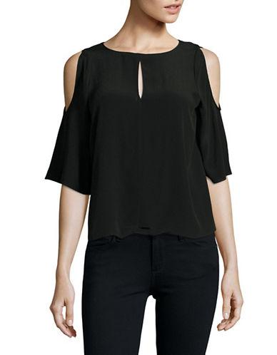Design Lab Lord & Taylor Half Sleeve Cold-Shoulder Top-BLACK-Large 89169630_BLACK_Large