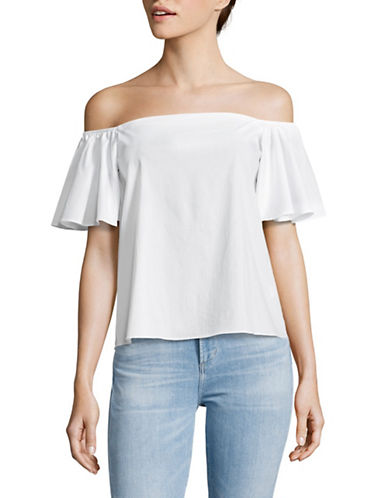 Design Lab Lord & Taylor Off-Shoulder Flounce Sleeve Top-WHITE-X-Small
