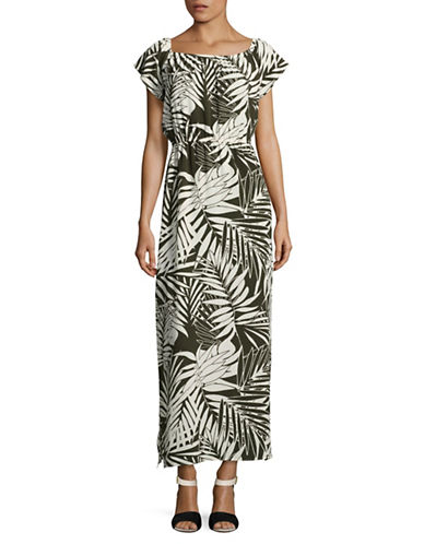 Design Lab Lord & Taylor Off-The-Shoulder Maxi Dress-GREEN MULTI-Medium