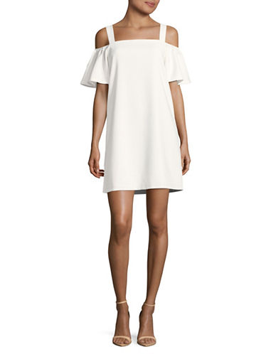 Design Lab Lord & Taylor Hardware Cold-Shoulder Dress-WHITE-Small