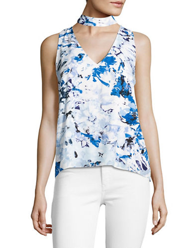 Design Lab Lord & Taylor Printed Choker Tank-BLUE-Small 89238334_BLUE_Small