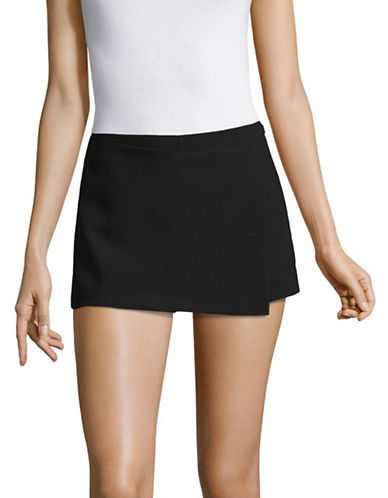 Design Lab Lord & Taylor Faux-Wrap Skort-BLACK-X-Small