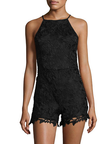 Design Lab Lord & Taylor Halter Lace Romper-BLACK-X-Small