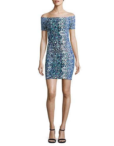 Design Lab Lord & Taylor Animal Print Mini Dress-BLUE MULTI-Medium