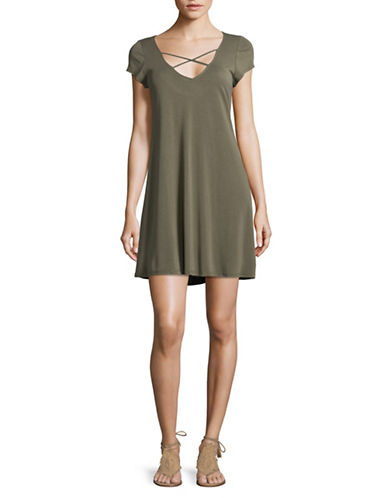 Design Lab Lord & Taylor Cross-Strap T-Shirt Dress-GREEN-X-Small