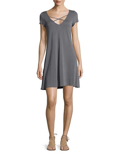 Design Lab Lord & Taylor Cross-Strap T-Shirt Dress-GREY-Small