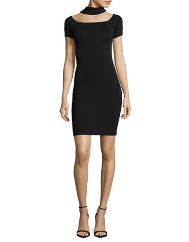 Design Lab Lord & Taylor Off-Shoulder Choker Neck Bodycon Dress-BLACK-Large