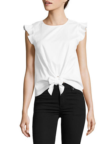 Design Lab Lord & Taylor Flutter Sleeve Tie-Front Top-WHITE-Large