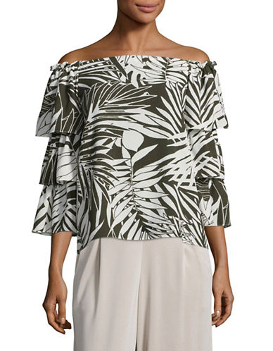 Design Lab Lord & Taylor Printed Off-Shoulder Tiered-Sleeve Top-OLIVE PRINT-Small