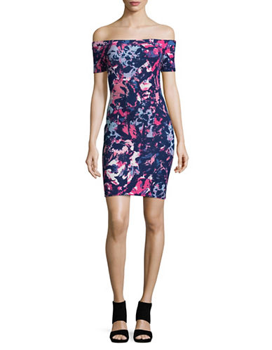 Design Lab Lord & Taylor Printed Bodycon Dress-PINK-Small