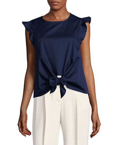 Design Lab Lord & Taylor Flutter Sleeve Tie-Front Top-BLUE-Large