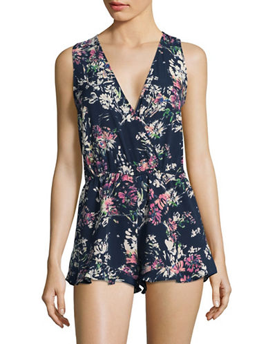 Design Lab Lord & Taylor Tie-Back V-Neck Floral Romper-BLUE-Large