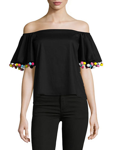 Design Lab Lord & Taylor Off-Shoulder Pom-Pom Top-BLACK-Large