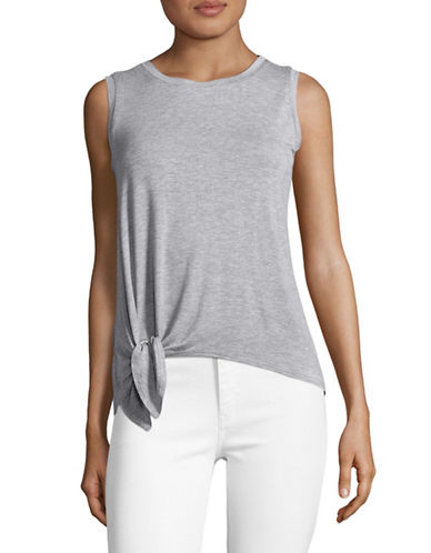 Design Lab Lord & Taylor Knot-Hem Tank Top-GREY-Large