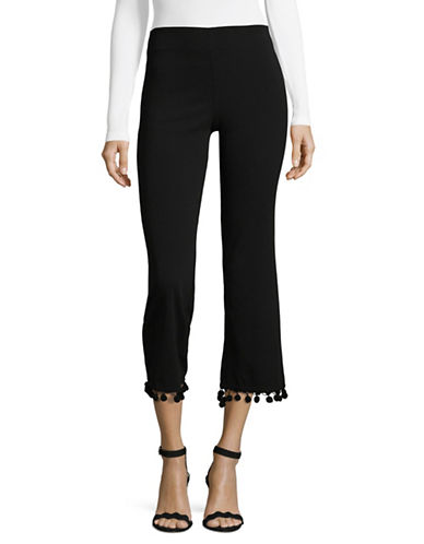 Design Lab Lord & Taylor Cropped Flare Pompom Trousers-BLACK-Medium