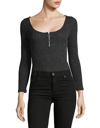 Design Lab Lord & Taylor Long Sleeve Zip Front Bodysuit-BLACK-Small