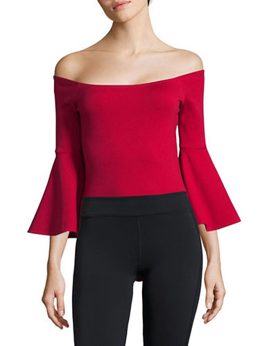 Design Lab Lord & Taylor Off-Shoulder Bell-Sleeve Bodysuit-RED-Small