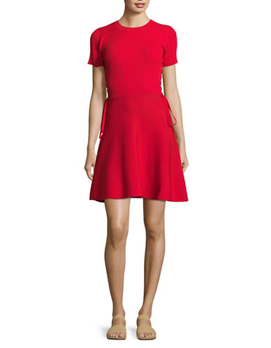 Design Lab Lord & Taylor Ribbed Crew Neck Dress-RED-Small