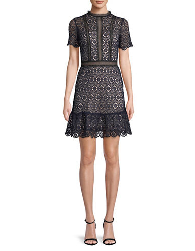Design Lab Lord & Taylor Lace Short-Sleeves Dress-NAVY-X-Small