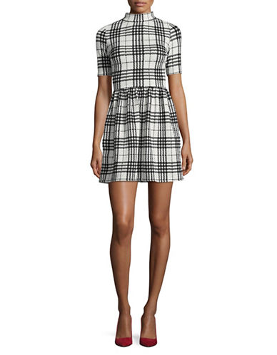 Design Lab Lord & Taylor Plaid Mini Dress-WHITE/BLACK-Medium