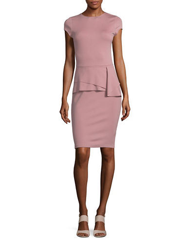 Design Lab Lord & Taylor Ponte Cap-Sleeve Bodycon Peplum Dress-ROSEWOOD-X-Small