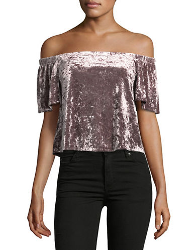 Design Lab Lord & Taylor Velvet Off-The-Shoulder Top-PINK-X-Small
