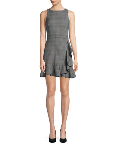 Design Lab Lord & Taylor Plaid Ruffled Fit-and-Flare Dress-GREY-Small