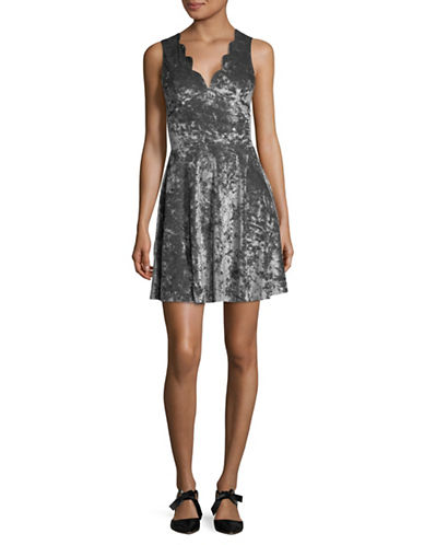 Design Lab Lord & Taylor Scalloped V-Neck Velvet Dress-SILVER-Large