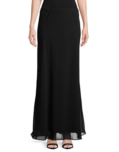 Alex Evenings Chiffon Long A-Line Skirt-BLACK-Small