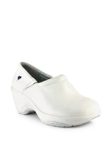Nurse Mates Bryar Leather Non-Slip Clogs-WHITE-9.5W
