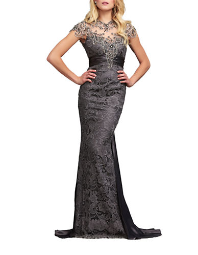 Mac Duggal Beaded Illusion Neck Lace Gown-GREY-8