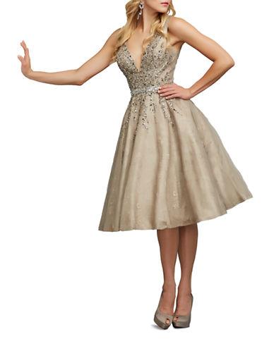 Mac Duggal Tea Length Cocktail Dress-BEIGE-16  AT vintagedancer.com