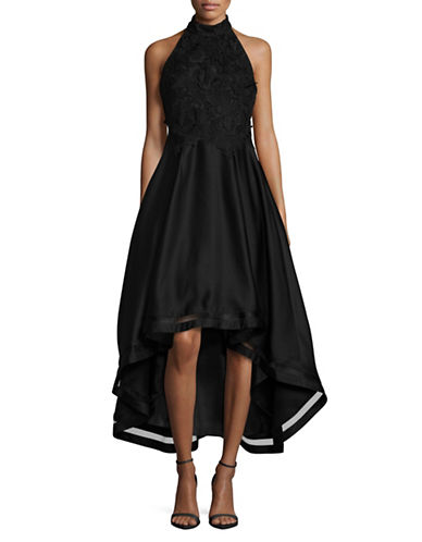 Nicole Miller New York Embroidered Hi-Lo Dress-BLACK-2
