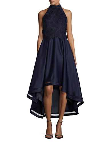 Nicole Miller New York Embroidered Hi-Lo Dress-BLUE-10