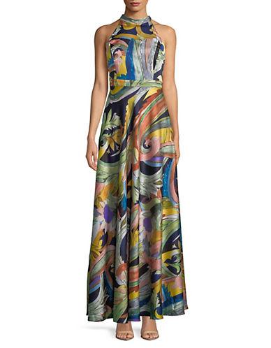 Nicole Miller New York Multi-Print Halter Sleeveless Gown 89888894