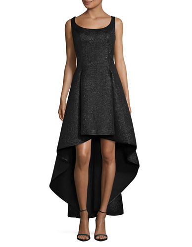 Nicole Miller New York Metallic Jacquard Hi-Lo Dress-BLACK-8