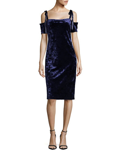 Nicole Miller New York Velvet Cold-Shoulder Dress-BLUE-12
