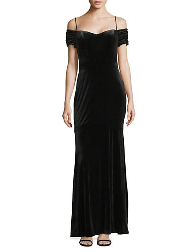 Nicole Miller New York Velvet Cold-Shoulder Gown-BLACK-8