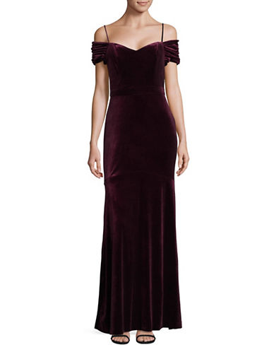 Nicole Miller New York Velvet Cold-Shoulder Gown-RED-6
