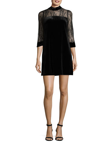 Nicole Miller New York Three-Quarter Sleeve Velvet Dress-BLACK-8