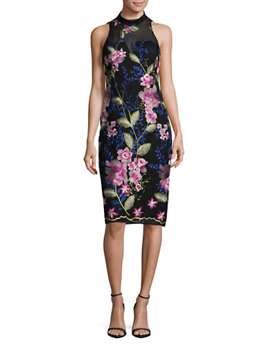 Nicole Miller New York Floral Mesh Cocktail Dress-BLACK-4