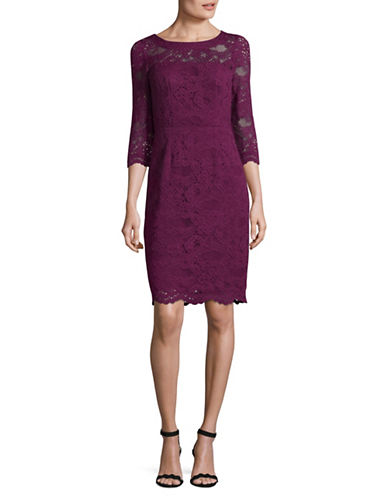 Nicole Miller New York Lace Sheath Dress-WINE-2