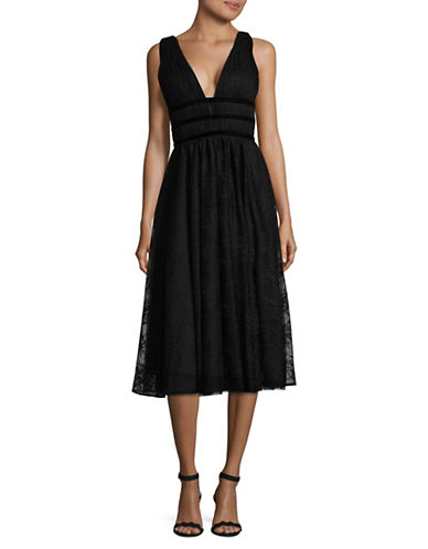 Nicole Miller New York Sleeveless Gathered V-Neck Gown-BLACK-14