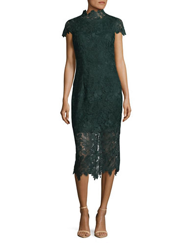Nicole Miller New York High Neck Lace Sheath Dress-GREEN-14