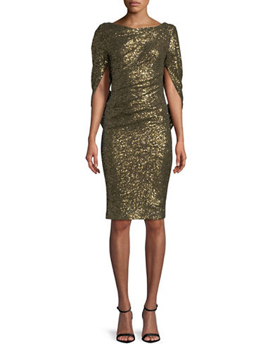 Nicole Miller New York Drape Back Sequin Dress-GOLD-10